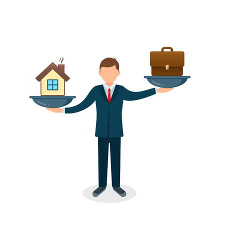 House vs business case on scales icon. Solution between work, money and family. Balance life business concept. Man balances Family or money. Vector illustration.