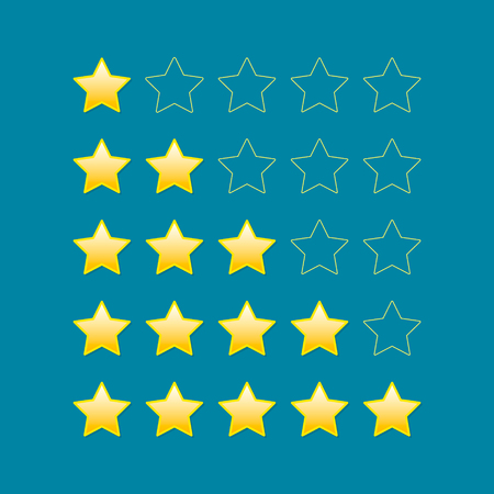 5 star rating icon vector isolated Illustration on blue background.