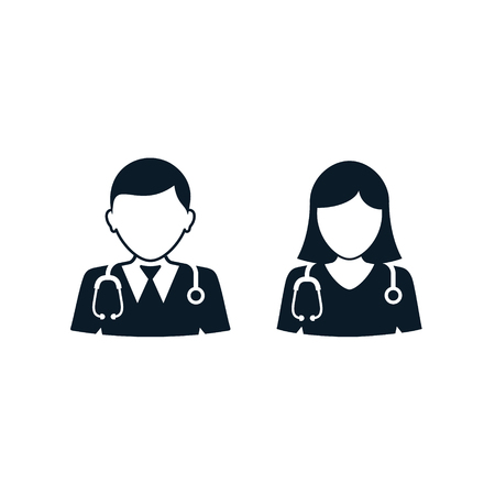 Doctor and nurse icon, Vector isolated medical set.