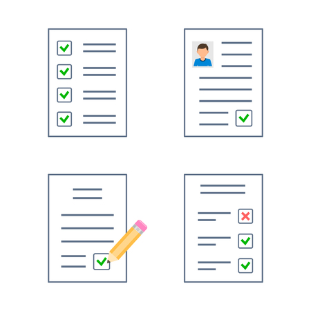 Checklist Document icon Contract Business Agreement set, Vector isolated Illustration.  イラスト・ベクター素材
