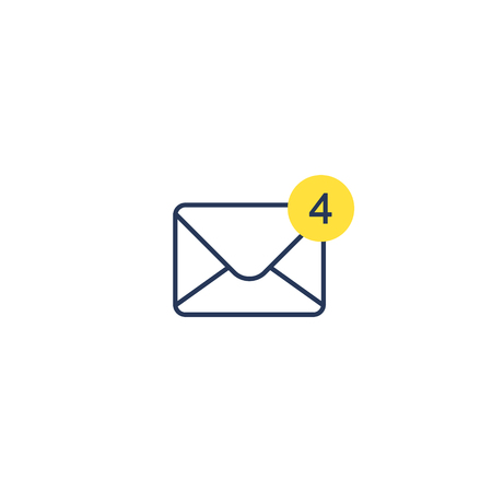 New messages icon with notification. Envelope with income message sign. Vector isolated illustration.