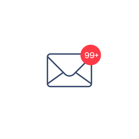 New messages icon with notification. Envelope with income message sign. Vector isolated symbol.  イラスト・ベクター素材