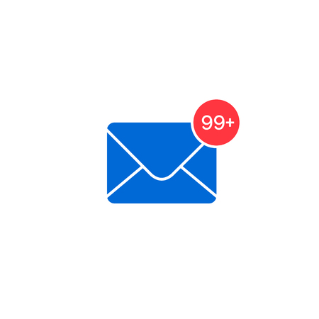 New mail icon with notification. Message Envelope with income sign. Vector isolated illustration.