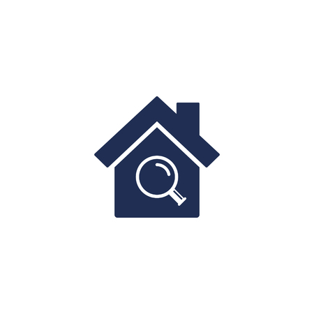 Search house icon, vector simple illustration isolated on white. Home and magnifier lens.