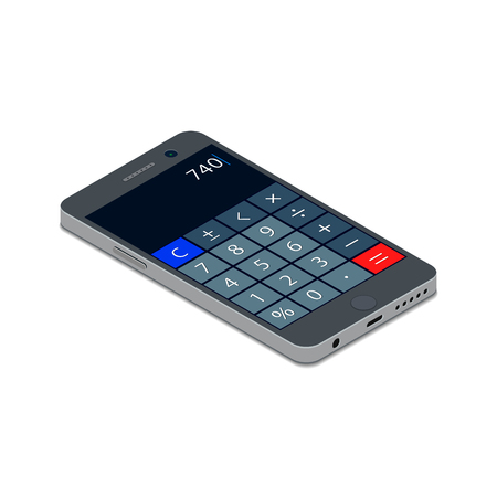 Smartphone with Calculator on monitor isometric flat icon. Mobile Phone 3d vector colorful illustration.  イラスト・ベクター素材