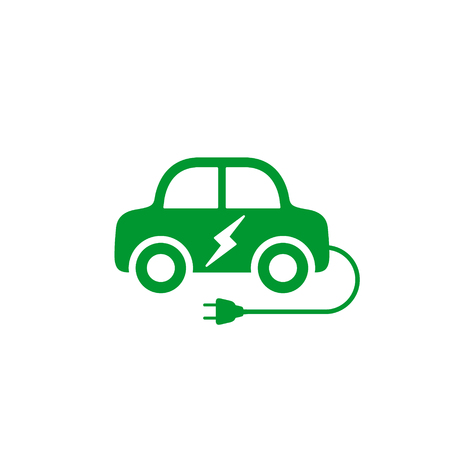 Electric car icon. Hybrid auto or electric vehicle concept on white background.