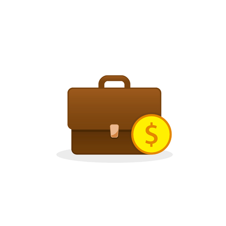 Briefcase with coin icon, vector isolated illustration, business concept. Stock Illustratie