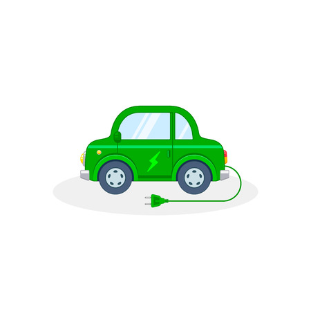 Electric car illustration. Vector isolated color icon. 写真素材 - 126852268