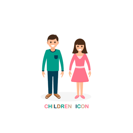 Children icon, boy and girl isolated on white background ,Vector Illustration.