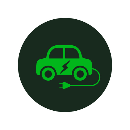 Electric car logo icon. Hybrid auto or electric vehicle concept on white background.