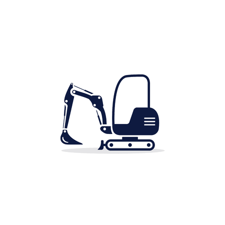 Excavator icon. Digger Illustration vector dig vehicle. Mini excavator flat illustration.