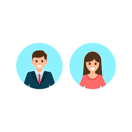 Avatars of a male and a female in business suits. Vector illustration. Stock Illustratie