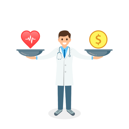 Health or money with doctor and scales vector illustration. Health vs money on scales, Vector concept. 写真素材 - 126852275