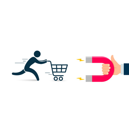 Hand with magnet attracting customer with cart. Vector illustration.