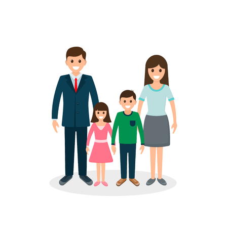 Family illustration. Father, mother, son and daughter together. Vector illustration of a flat design. 写真素材 - 126852278
