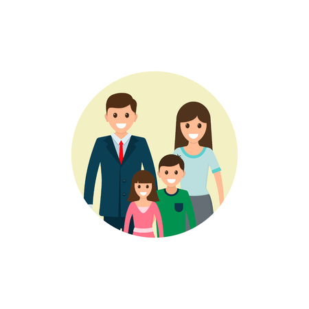 Family illustration. Father, mother, son and daughter together. Vector illustration of a flat design.  イラスト・ベクター素材
