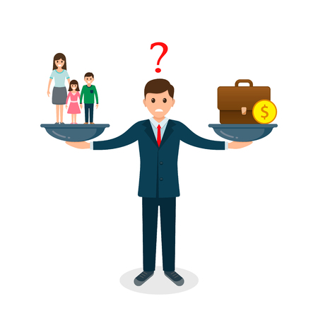 Family vs business on scales concept. Solution between work, money and family. Balance life business concept. Man balances Family or money. Vector illustration.  イラスト・ベクター素材