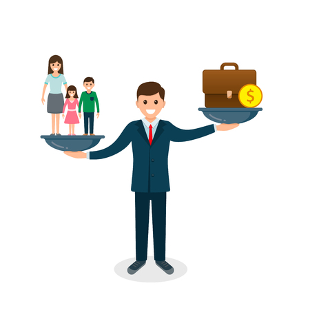 Family vs business on scales concept. Solution between work, money and family. Balance life business concept. Man balances Family or money. Vector. 写真素材 - 126852280