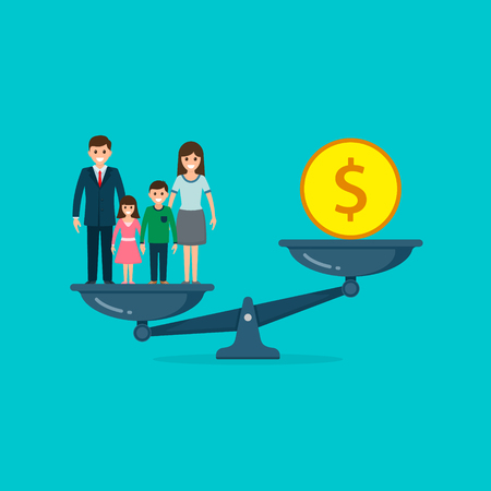 Family vs business on scales concept. Solution between work, money and family. Lifestyle business concept. Man balances Family or money. Vector.  イラスト・ベクター素材