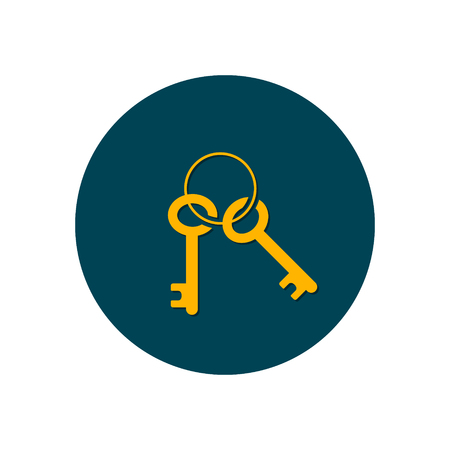 Keys Icon in circle background. Vector isolated illustration. 写真素材 - 126852281