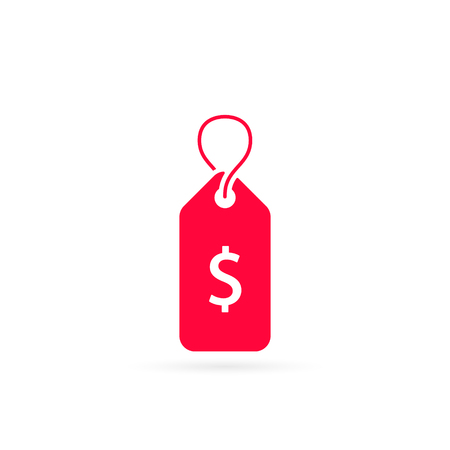 Label with Dollar sign, tag icon isolated on white. Vector.