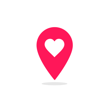 Red map pointer heart icon. GPS location symbol. Web pointer - heart. Map pin. Vector.  イラスト・ベクター素材