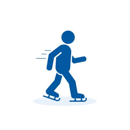 Skater Icon, Skating Man Silhouette Icon. Winter Sport Vector Illustration.  イラスト・ベクター素材