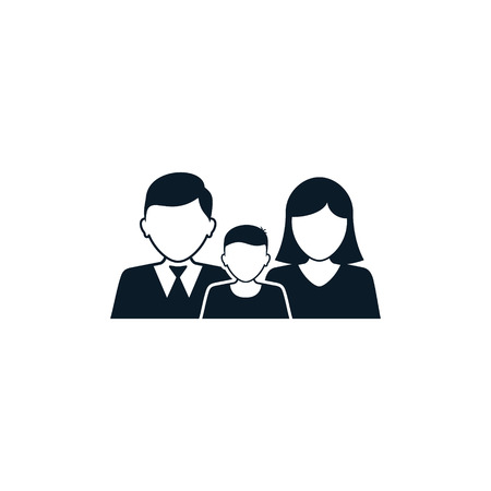 Family icon, Vector isolated simple silhouette black illustration.