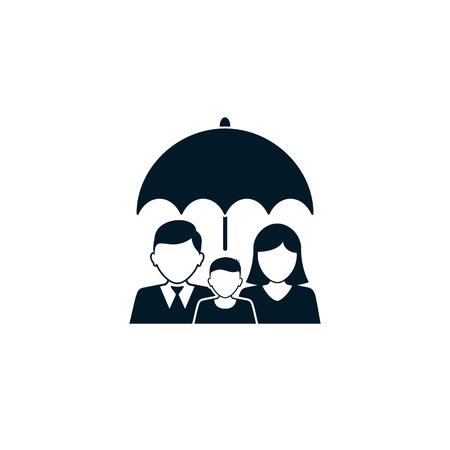 Family insurance Icon, family under umbrella vector illustration.
