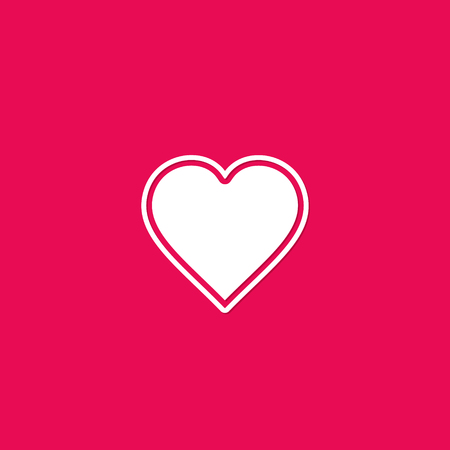 Heart icon, love symbol isolated on red background in flat design. 写真素材 - 126221853