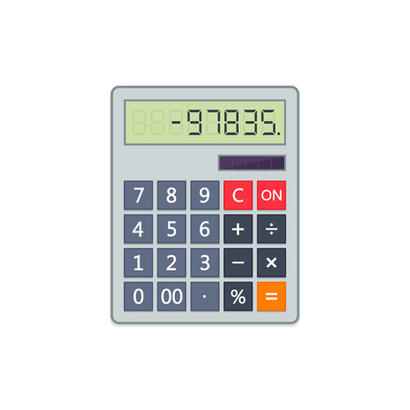 Calculator in flat style isolated on a white background. Vector electronic portable calculator. Stock Illustratie