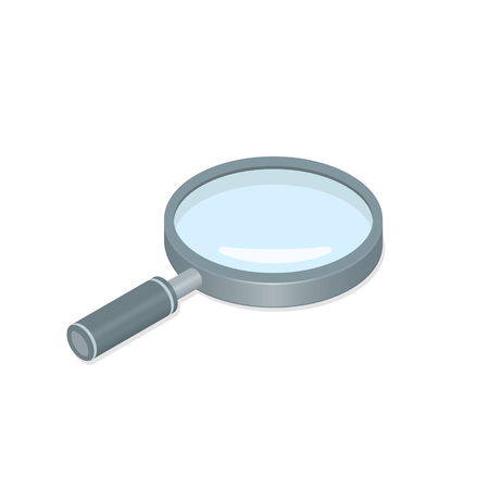 Magnifying glass Loupe isometric 3d icon vector magnifier illustration design.