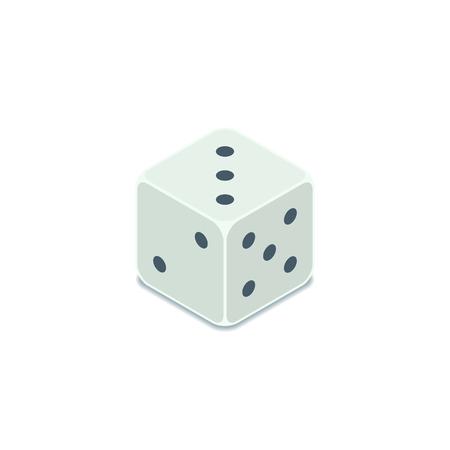 Dice icon, Vector isometric symbol. Casino game 3d illustration.