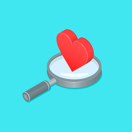 Magnifying glass with Heart Isometric illustration. Search Heart vector illustration. Dating concept.  イラスト・ベクター素材
