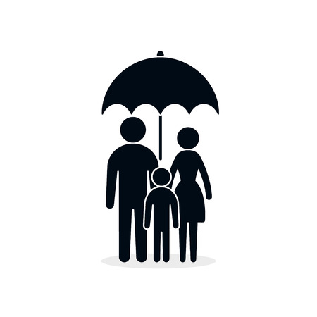 Family under umbrella icon. Safety, insurance protection concept illustration.
