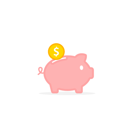 Piggy bank with falling coin. concept of saving money Investments in future. Isolated vector illustration piggy bank in flat style. Stock Illustratie