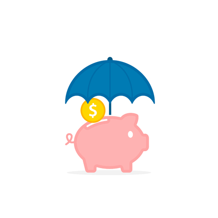 Piggy bank with umbrella concept for safe investment, finance for protection, Vector color illustration. Stock Illustratie