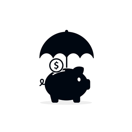 Piggy bank with umbrella concept for safe investment, finance for protection, Vector illustration.