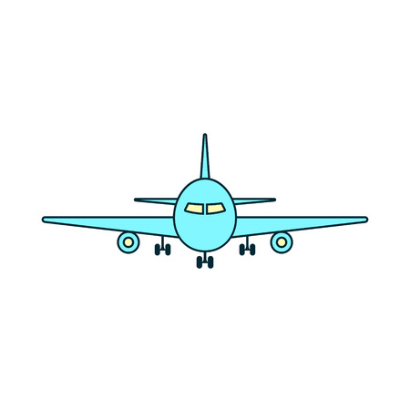 Airplane icon. Front view flying aircraft Vector isolated Plane illustration.  イラスト・ベクター素材