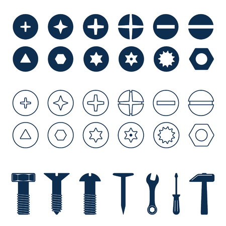 Bolts and screws heads set. Bolt and screw, nut top view, tools vector illustration. 写真素材 - 126054855