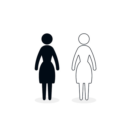 Woman icon. Vector isolated silhouette female sign.