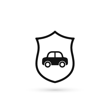 Car insurance icon, vector car with shield illustration. 写真素材 - 126054857