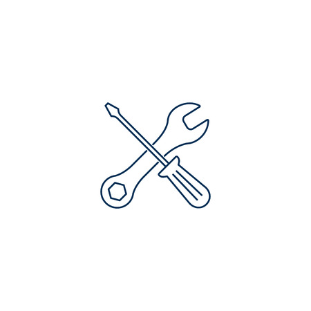 Tools Icon, crossed line tools in trendy flat style isolated on white background. Repair, Service symbol. Vector illustration.