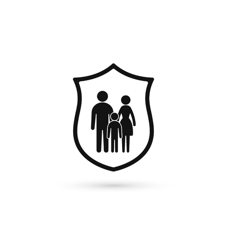Family insurance Icon, Family on Shield icon, Vector isolated illustration.