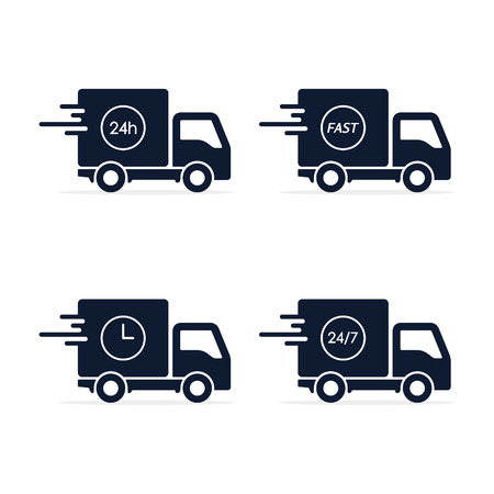 Fast delivery Vector truck icon set in flat style isolated on white. 写真素材 - 125867037