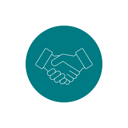 Business handshake, contract agreement line art vector icon for apps and websites.  イラスト・ベクター素材
