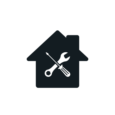 Home repair icon. Vector house service isolated simple symbol. 矢量图像
