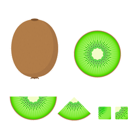 Kiwi Fruit set, Vector isolated colorful illustration. 写真素材 - 125867038