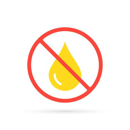 No Oil drop icon. Simple icon. Flat design vector illustration.