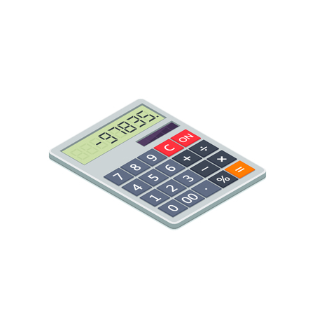 Calculator isometric flat icon. 3d vector illustration isolated on white background. 写真素材 - 125867040
